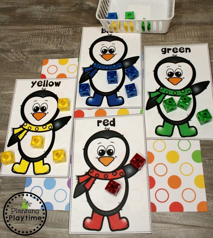 Penguin Theme Activities for Preschool - Penguin Color Sorting #arcticanimals #preschoolactivities #planningplaytime #colorrecognition