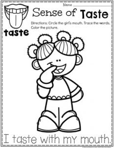 Preschool Coloring Page - The 5 Senses - Sense of Taste