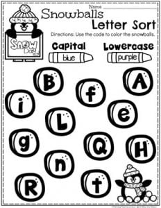 Preschool Letter Worksheets - Capital or Lowercase Letters Sort for Winter #arcticanimals #preschoolworksheets #planningplaytime