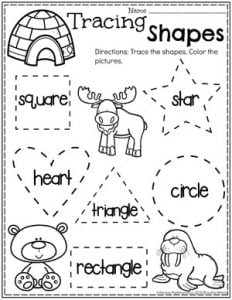 Preschool Shapes Tracing - Polar Animals Theme #arcticanimals #preschoolworksheets #planningplaytime