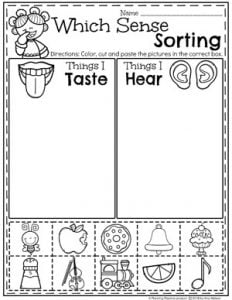 Preschool Sorting Worksheets - The 5 Senses, Sound and Taste #5senses #preschoolworksheets #planningplaytime