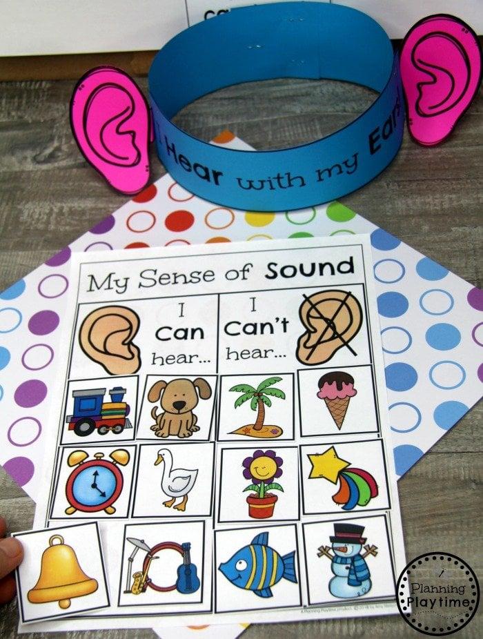 Sense of Sound Preschool Game #5senses #preschoolthemes #preschoolcenters #planningplaytime
