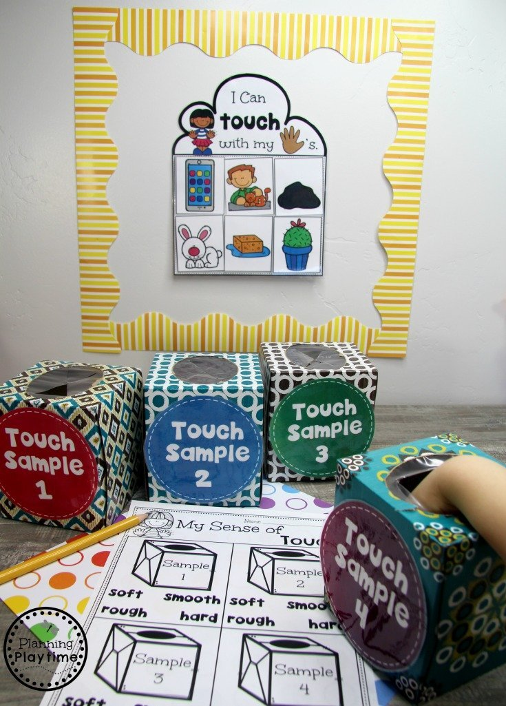 Sense of Touch Activity for Preschool - The 5 Senses #5senses #preschoolthemes #preschoolcenters #planningplaytime