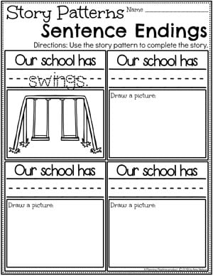 Kindergarten Writing Worksheets - Creating a Pattern Story pg 2 #planningplaytime #kindergartenworksheets #writingworksheets #kindergartenwriting