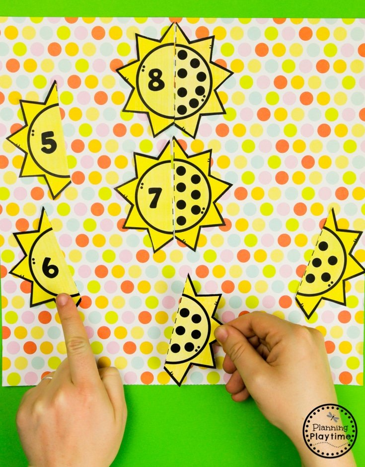 FREE Preschool Worksheets for a Weather Theme - Math Puzzles #freeprintables #freepreschoolworksheets #preschoolworksheets #weathertheme #planningplaytime
