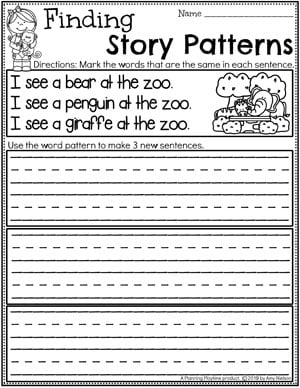 Kindergarten Writing Worksheets - Finding Story Patterns pg 1 #planningplaytime #kindergartenworksheets #writingworksheets #kindergartenwriting #planningplaytime #kindergartenworksheets #writingworksheets #kindergartenwriting