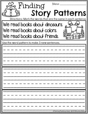 Kindergarten Writing Worksheets - Finding Story Patterns pg 3 #planningplaytime #kindergartenworksheets #writingworksheets #kindergartenwriting