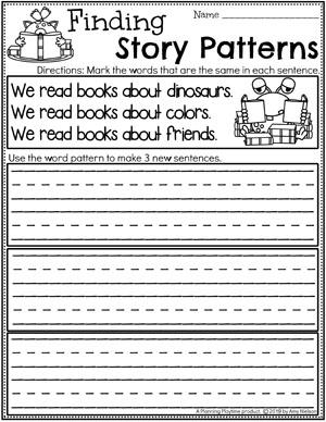 Kindergarten Writing Worksheets - Finding Story Patterns pg 3 #planningplaytime #kindergartenworksheets #writingworksheets #kindergartenwriting
