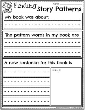Kindergarten Writing Worksheets - Finding Writing Patterns in Books Worksheet #planningplaytime #kindergartenworksheets #writingworksheets #kindergartenwriting
