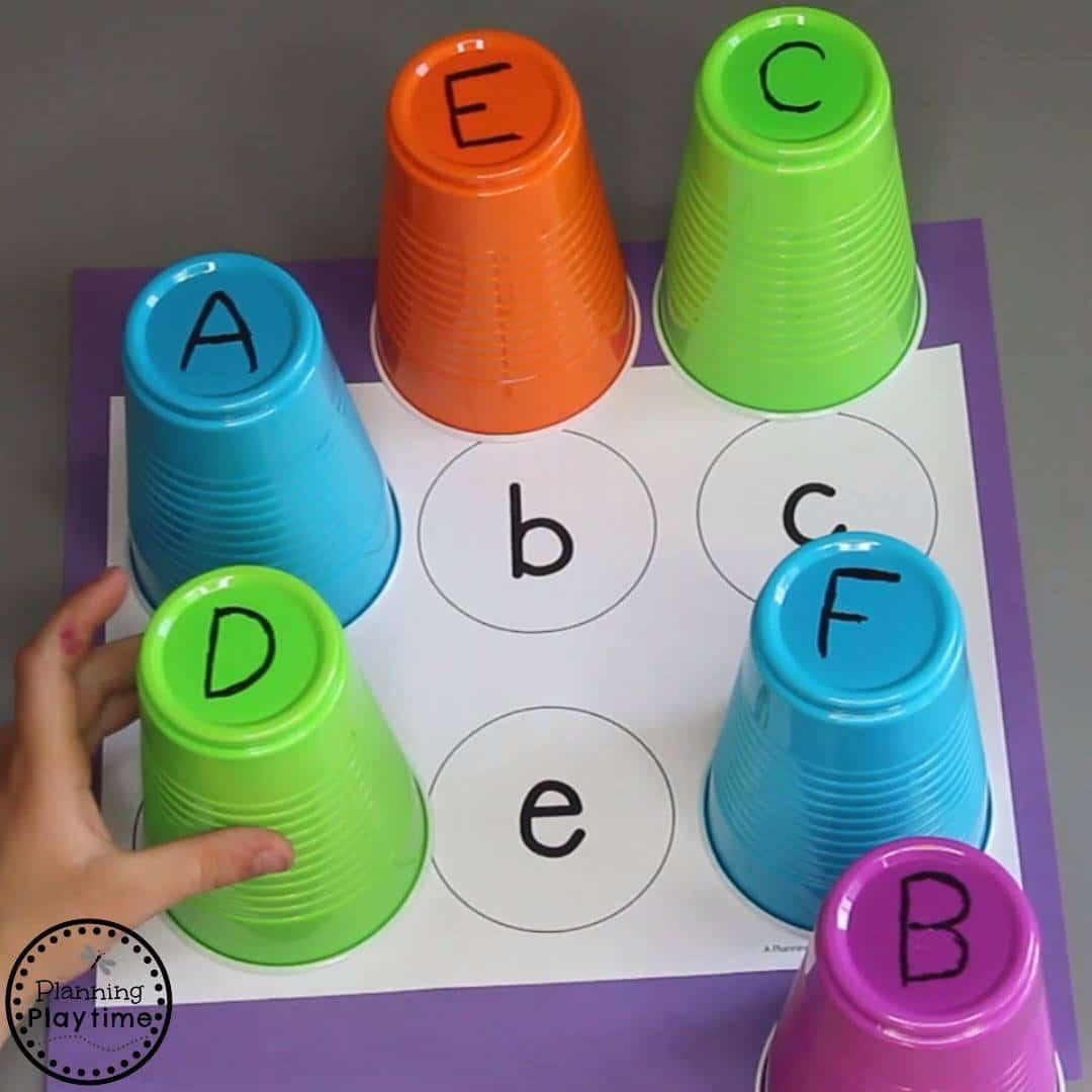 Free Alphabet Printables - Alphabet Cups #freeprintables #preschoolprintables #alphabetactivities #preschoolactivities #planningplaytime