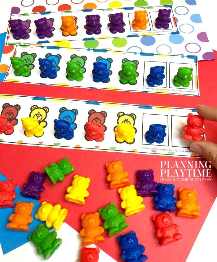 color bears on color pattern cards
