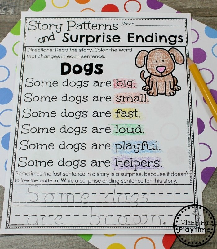 Kindergarten Writing Worksheets - Writing Patterns #planningplaytime #kindergarten #kindergartenwriting #storypatterns