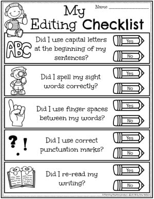 Kindergarten Writing Worksheets - Editing Checklist #planningplaytime #kindergartenworksheets #writingworksheets #kindergartenwriting