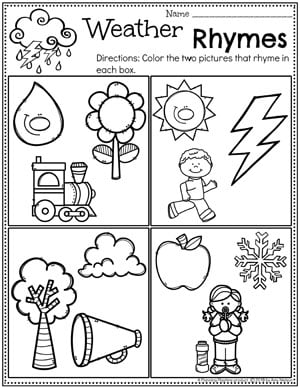 Preschool Rhyming Worksheets - Weather Theme #planningplaytime #weathertheme #preschoolworksheets #rhymingworksheets