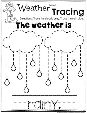 Preschool Weather Worksheets - Rainy Day Tracing #planningplaytime #weathertheme #preschoolworksheets #tracingworksheets #springworksheets