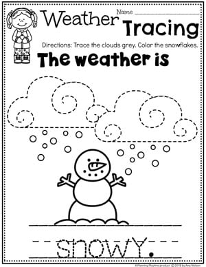 Preschool Weather Worksheets - Snowy Day Tracing #planningplaytime #weathertheme #preschoolworksheets