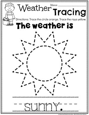 Preschool Weather Worksheets - Sunny Day Tracing #planningplaytime #weathertheme #preschoolworksheets