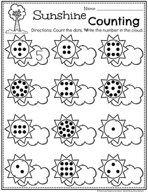 Preschool Weather Worksheets - Sunshine Counting #planningplaytime #weathertheme #preschoolworksheets #mathworksheets #countingworksheets