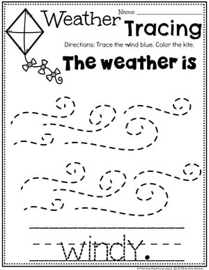 Preschool Weather Worksheets - Windy Day Tracing #planningplaytime #weathertheme #preschoolworksheets #tracingworksheets
