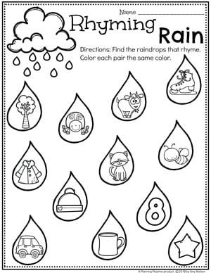 Rhyming Worksheets for Preschool - Rhyming Rain Weather Theme #planningplaytime #weathertheme #preschoolworksheets #rhymingworksheets