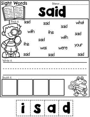 Sight Words Worksheet - Said #planningplaytime #sightwords #sightwordsworksheets #kindergartenworksheets