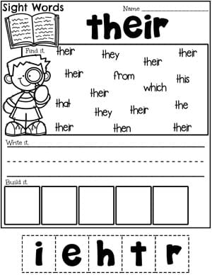 Sight Words Worksheet - Their #planningplaytime #sightwords #sightwordsworksheets #kindergartenworksheets