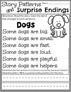 Kindergarten Writing Worksheets - Story Patterns and Surprise Endings pg 1 #planningplaytime #kindergartenworksheets #writingworksheets #kindergartenwriting