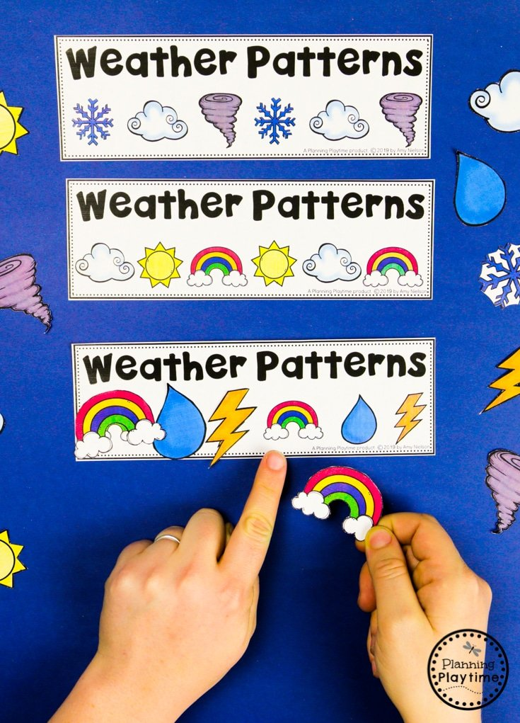 Weather Activities for Kids - Preschool Patterns #planningplaytime #weathertheme #preschoolactivities #preschoolworksheets #springworksheets