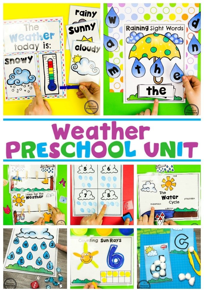 Weather Activities for Preschool #planningplaytime #weathertheme #preschoolactivities #preschoolworksheets #springworksheets