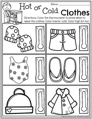 Weather Worksheets for Preschool - Hot or Cold Clothes #planningplaytime #weathertheme #preschoolworksheets #springworksheets