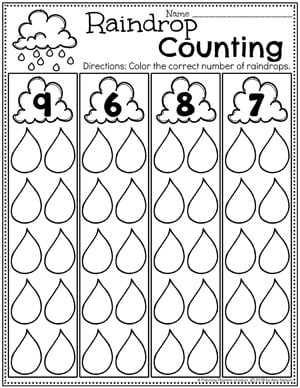Weather Worksheets for Preschool - Raindrop Counting #planningplaytime #weathertheme #preschoolworksheets