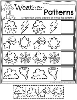 Weather Worksheets for Preschool - Weather Patterns #planningplaytime #weathertheme #preschoolworksheets #springworksheets #patternsworksheets