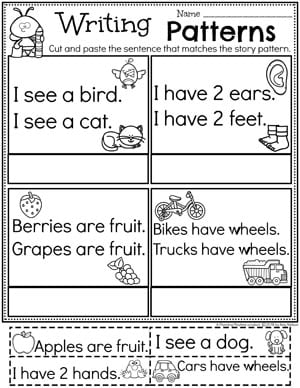Kindergarten Writing Worksheets - Story Patterns pg 1 #planningplaytime #kindergartenworksheets #writingworksheets #kindergartenwriting
