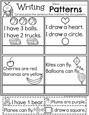Kindergarten Writing Worksheets - Story Patterns pg 2 #planningplaytime #kindergartenworksheets #writingworksheets #kindergartenwriting