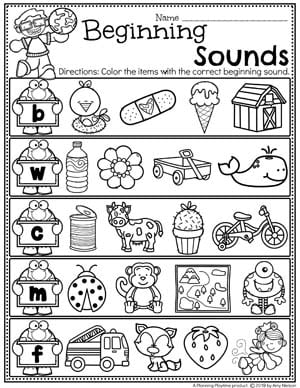 Beginning Sounds Worksheets - Earth Day Theme #planningplaytime #preschool #preschoolworksheets #earthday #earthdayactivities