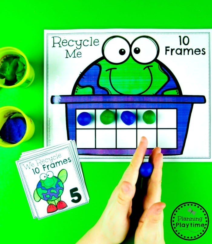 Earth Day Activities for Kids - Recycle 10 Frames  #planningplaytime #earthday #preschool #preschoolworksheets