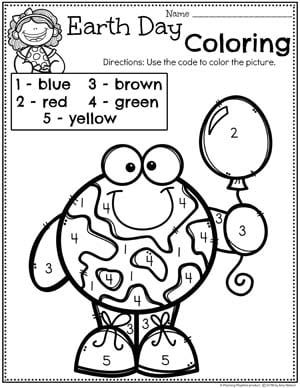 Earth Day Coloring Page for Preschool