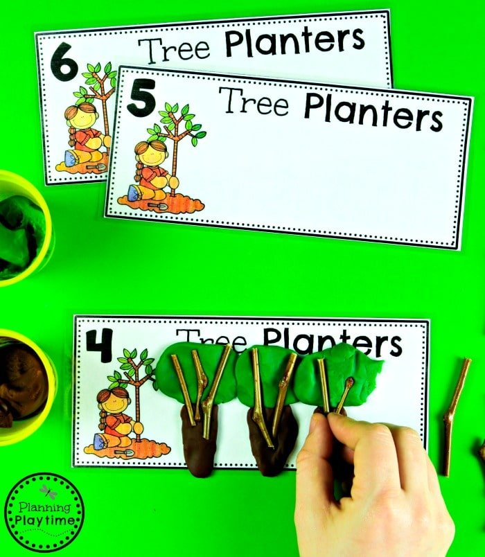 Earth Day Counting Activity - Playdough Tree Building