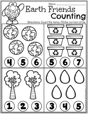 Earth Day Counting Preschool Worksheets #planningplaytime #preschool #preschoolworksheets #earthday #earthdayactivities