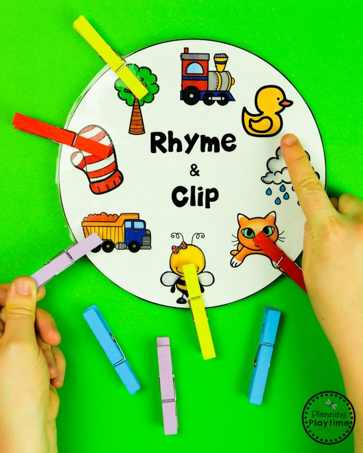 Fun Rhyming Words Activities for Preschool or Kindergarten #planningplaytime #rhymingwords #kindergartenworksheets #rhymingworksheets #literacyworksheets