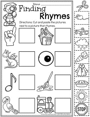Kindergarten Rhyming Words Worksheets #planningplaytime #rhymingwords #kindergartenworksheets #rhymingworksheets #literacyworksheets