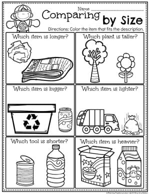 Measurement Worksheets for Preschool and Kindergarten - Earth Day Theme #planningplaytime #preschool #preschoolworksheets #earthday #earthdayactivities