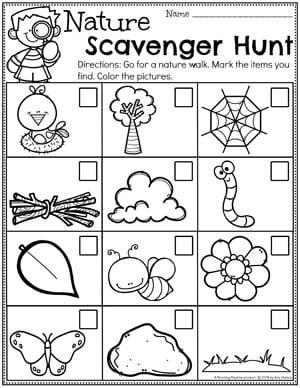 Nature Scavenger Hunt Printable for Preschool #planningplaytime #preschool #preschoolworksheets #earthday #earthdayactivities