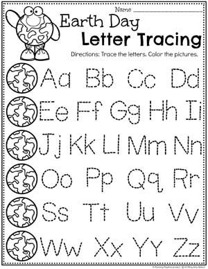 Prechool Letter Worksheets in a fun Earth Day Theme #planningplaytime #preschool #preschoolworksheets #earthday #earthdayactivities