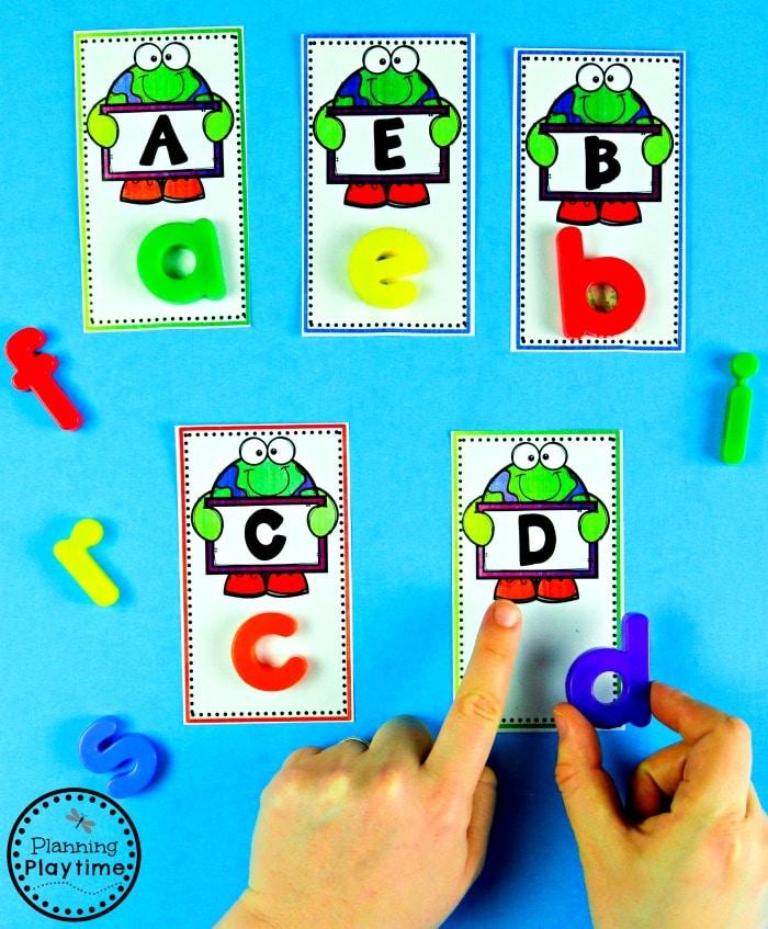 Preschool Alphabet Game - Earth Day Activities  #planningplaytime #earthday #preschool #preschoolworksheets