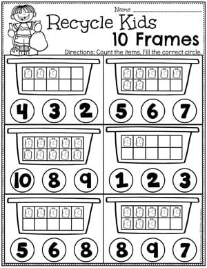 Preschool Earth Day Theme Worksheets - Recycle Bin 10 Frames #planningplaytime #preschool #preschoolworksheets #earthday #earthdayactivities