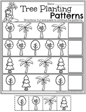 Preschool Earth Worksheets - Tree Planting Patterns #planningplaytime #preschool #preschoolworksheets #earthday #earthdayactivities