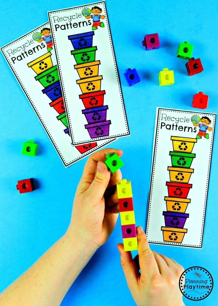 Preschool Patterns Game for Earth Day  #planningplaytime #earthday #preschool #preschoolworksheets