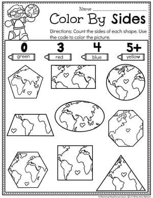Preschool Shapes Worksheets - Earth Day Theme #planningplaytime #preschool #preschoolworksheets #earthday #earthdayactivities