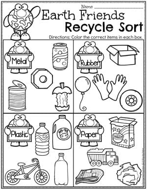 Recycling Worksheets for Preschool - Earth Day Sorting #planningplaytime #preschool #preschoolworksheets #earthday #earthdayactivities